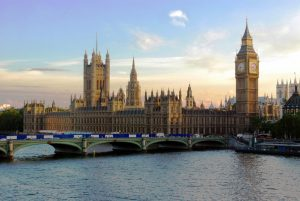 The Houses of Parliament by sunset